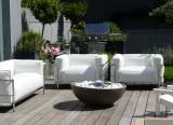 Projet d'aménagement Genève - Projet Outdoor - Canapé LC3 Cassina - Tables d'appoint Strap Paola Lenti - Projet d'aménagement Suisse - LVC Design